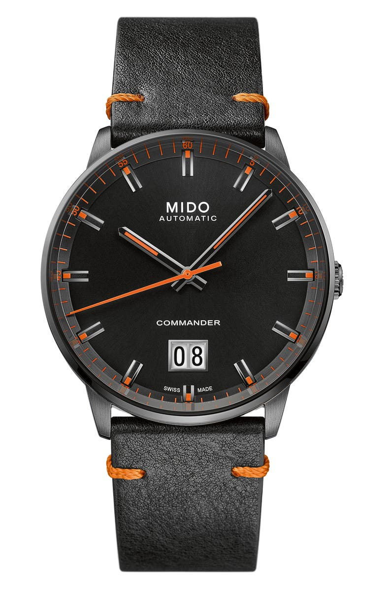 MIDO Commander Big Date Automatic Leather Strap Watch, 42mm, Main, color, Black