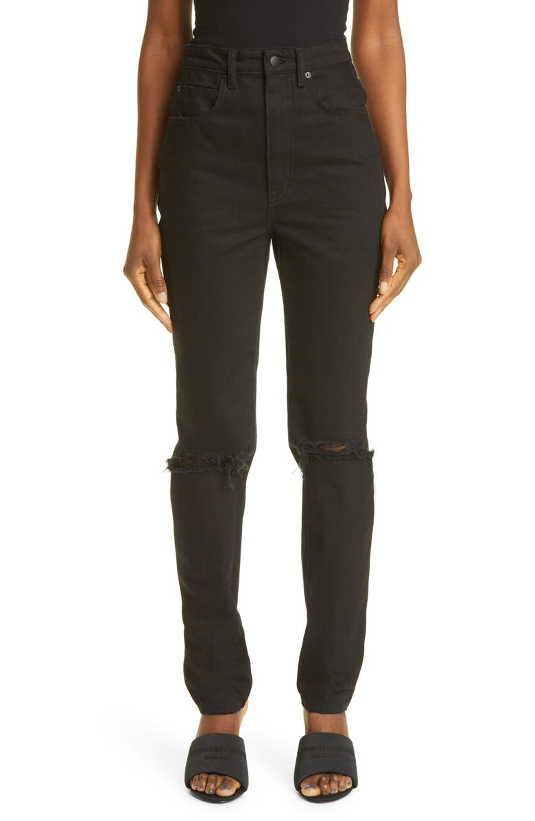 ALEXANDER WANG Ripped High Waist Dipped Back Jeans, Main, color, BLACK