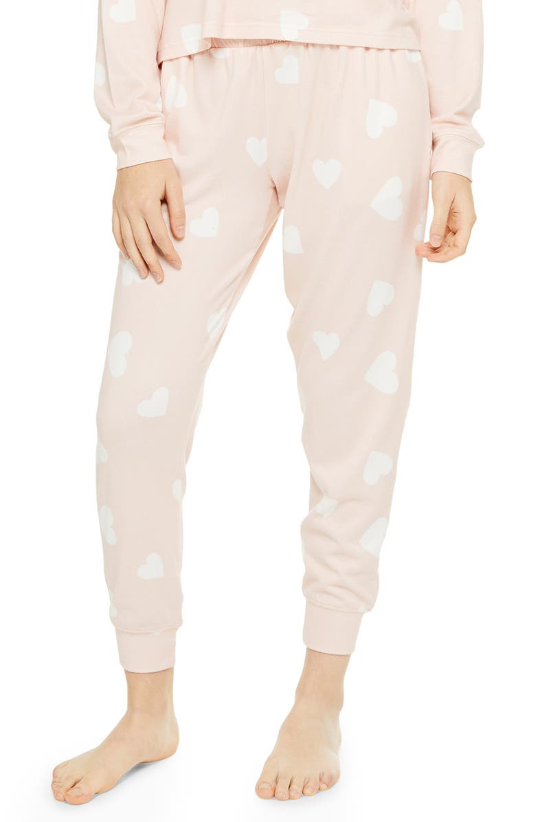 TOPSHOP Supersoft Heart Print Knit Joggers, Main, color, 680