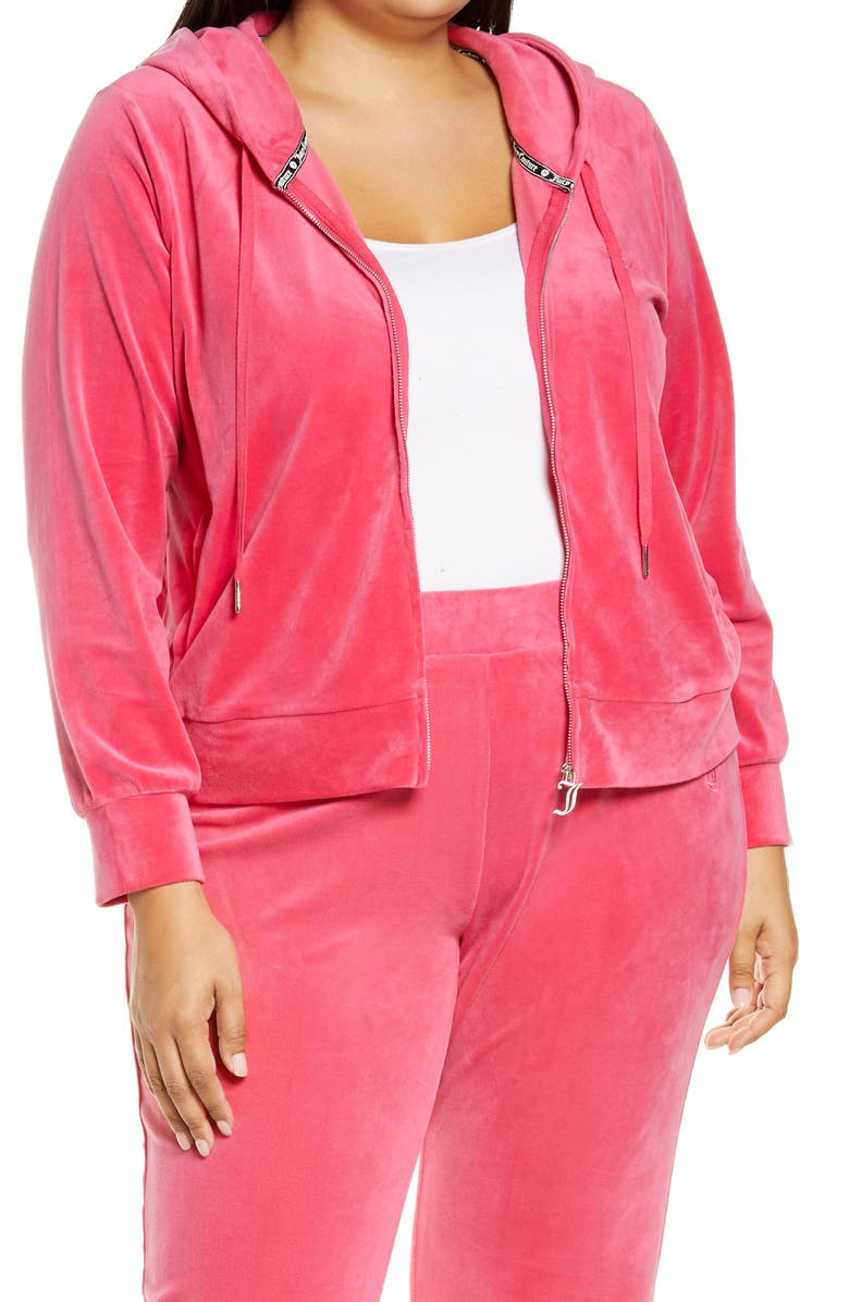 JUICY COUTURE Velour Full Zip Hoodie, Main, color, PINK PARTY