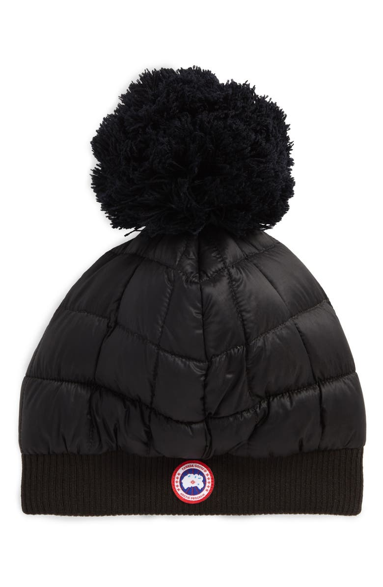 CANADA GOOSE Quilted Down Pom Beanie, Main, color, Black
