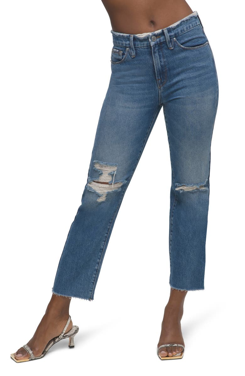 GOOD AMERICAN Distressed High Waist Frayed Jeans, Main, color, BLUE537