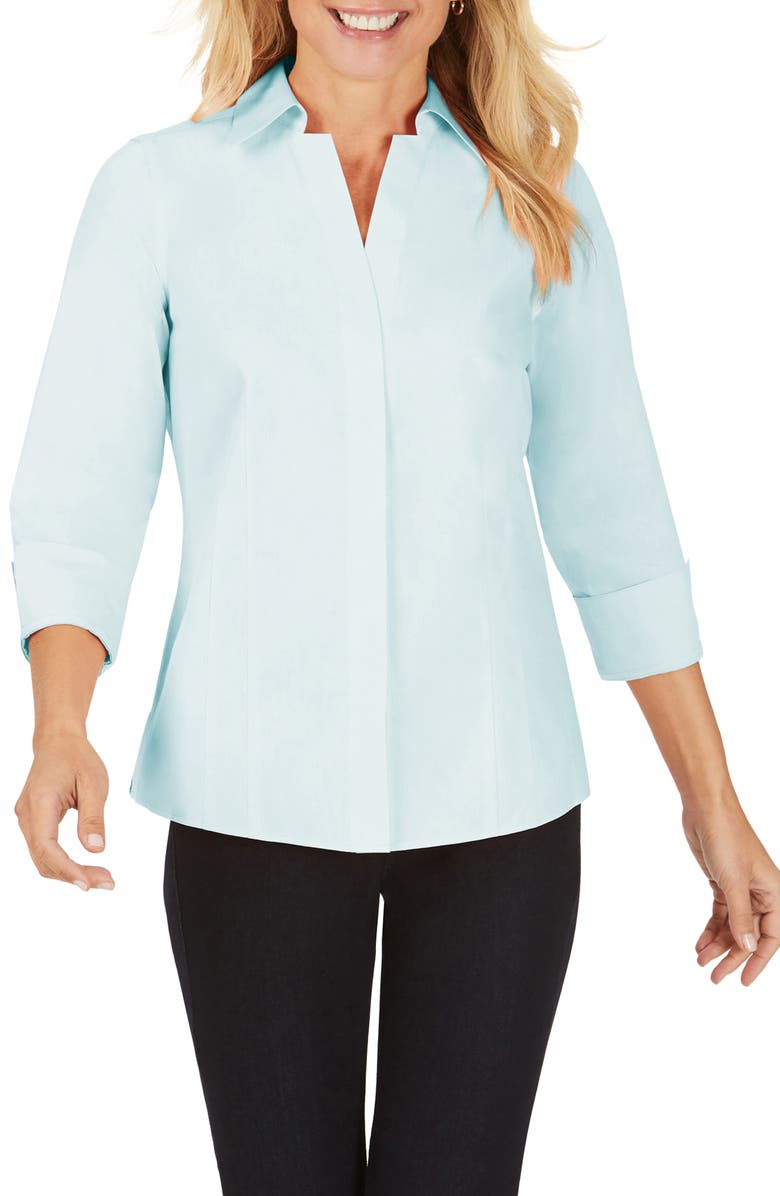 FOXCROFT Taylor Fitted Non-Iron Shirt, Main, color, BAHAMA