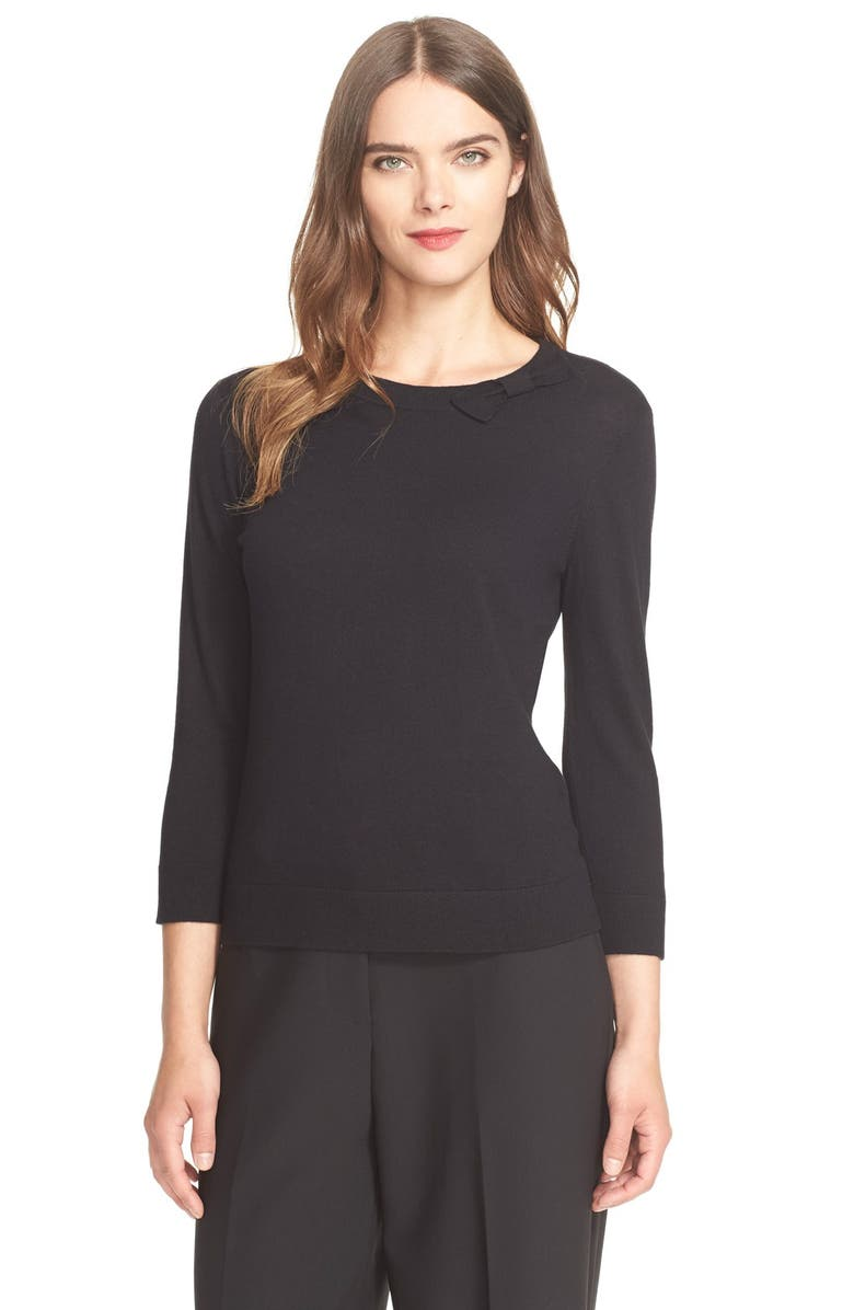 KATE SPADE NEW YORK bow neck sweater, Main, color, 001