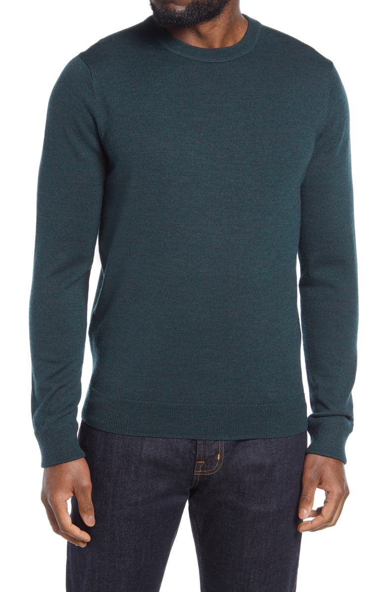 NORDSTROM Washable Merino Crewneck Sweater, Main, color, GREEN SCARAB HEATHER