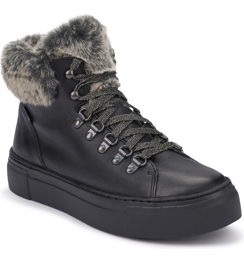 MEPHISTO Ginou Faux Fur Lined High Top Sneaker, Main, color, 001