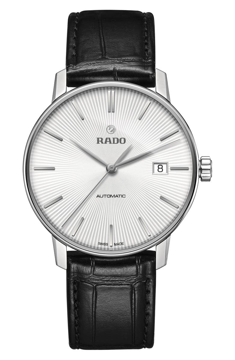 RADO Coupole Classic Automatic Leather Strap Watch, 38mm, Main, color, BLACK