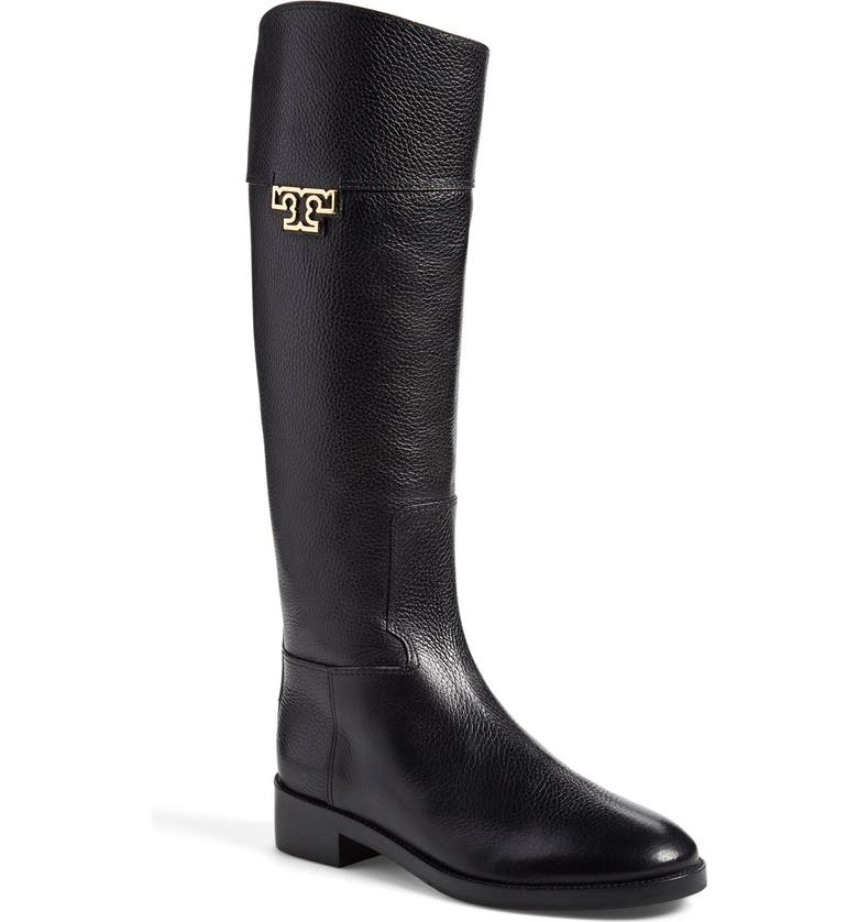 TORY BURCH 'Joanna' Riding Boot, Main, color, BLACK LEATHER