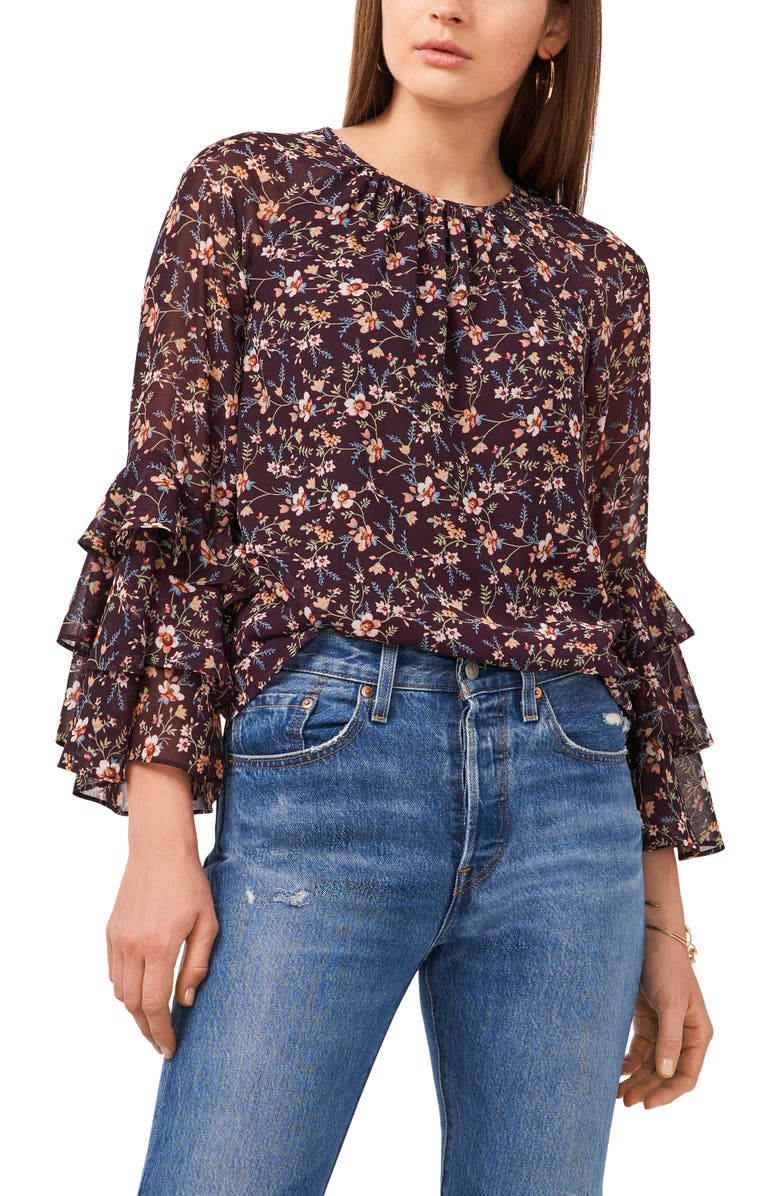 1.STATE Floral Print Ruffle Top, Main, color, FLORAL PRINT