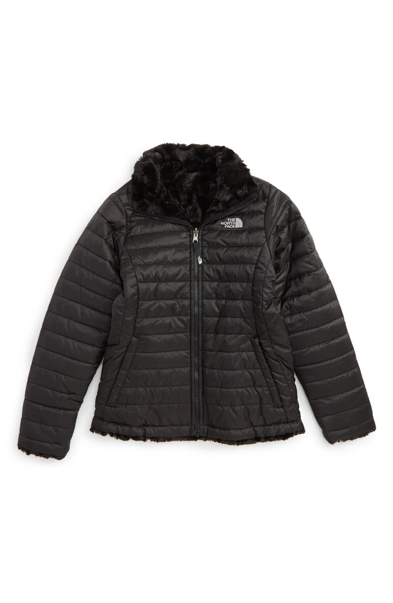 THE NORTH FACE Kids' 'Mossbud Swirl' Reversible Water Repellent Jacket, Main, color, 001