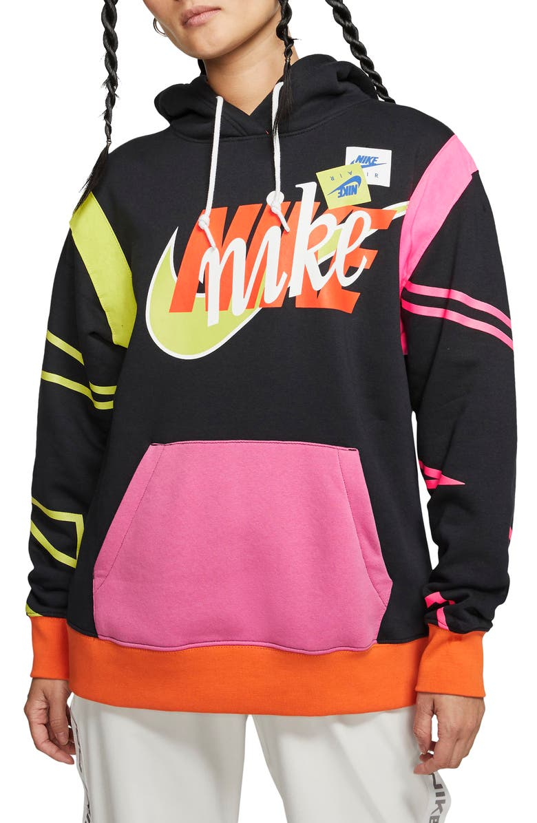NIKE Sportswear Air Force 1 Stacked Logo Hoodie, Main, color, 010