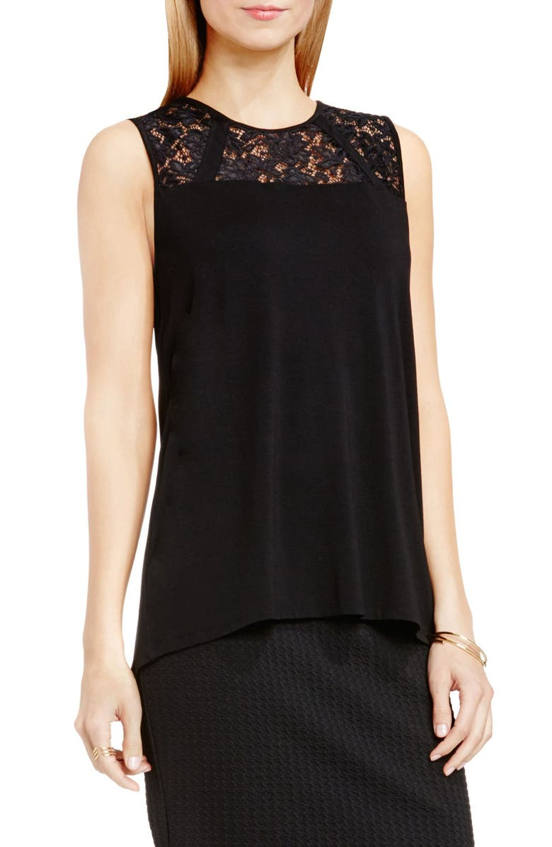 VINCE CAMUTO Lace Yoke Sleeveless Jersey Top, Main, color, 006