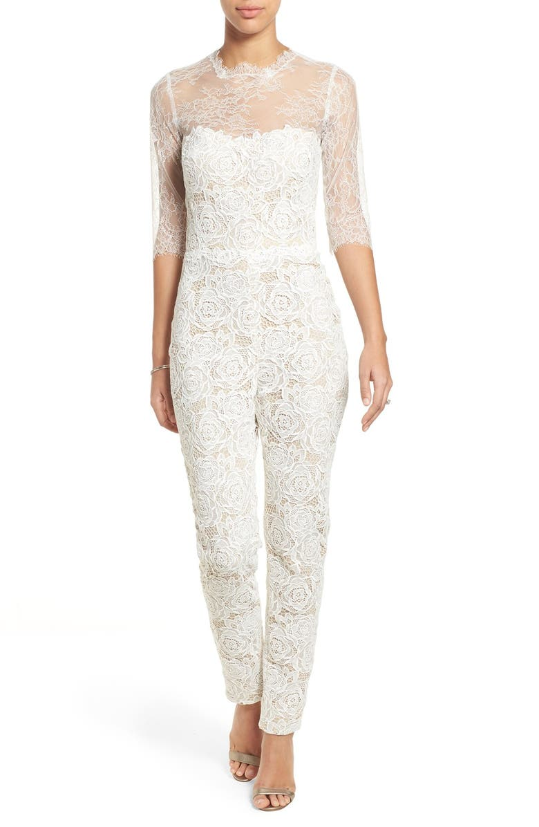 READY TO WED Monique Lhuillier Ready to Wed Guipure Lace Jumpsuit, Main, color, 100