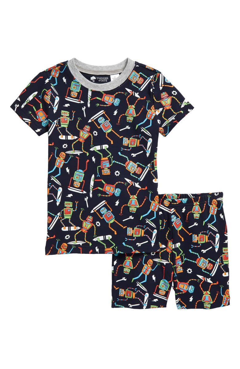 TUCKER + TATE Kids' Glow in the Dark Fitted Two-Piece Short Pajamas, Main, color, NAVY BLAZER ROBOTS GLOW