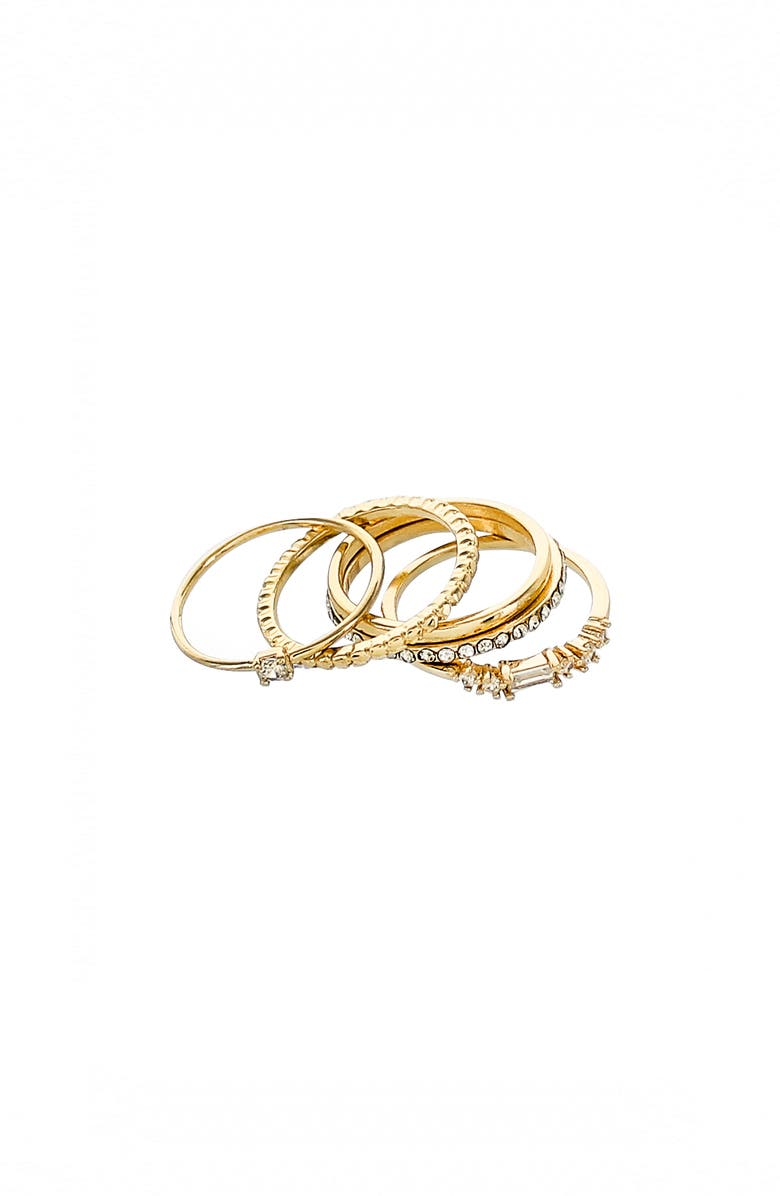 PANACEA Set of 5 Crystal Stacking Rings, Main, color, Gold