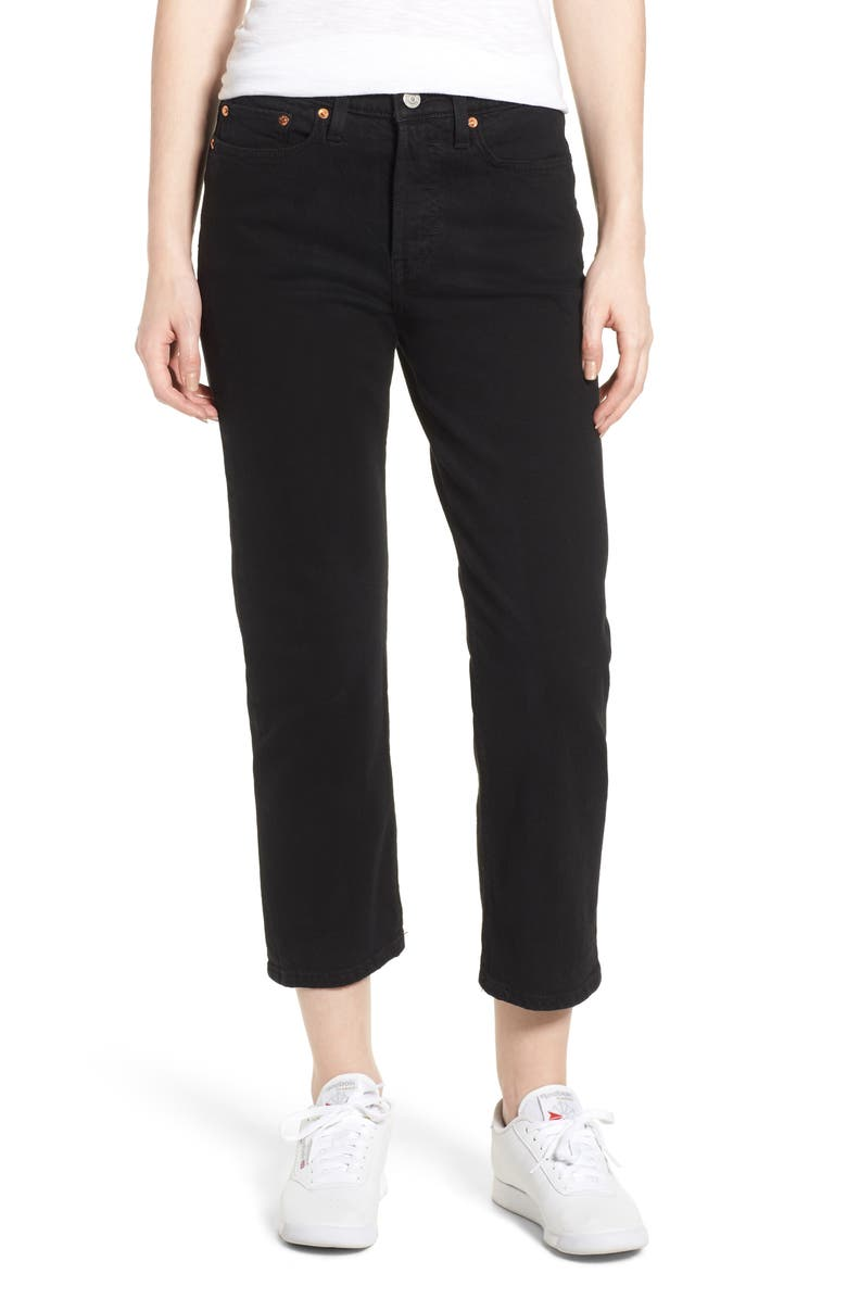 LEVI'S<SUP>®</SUP> Wedgie High Waist Straight Jeans, Main, color, BLACK HEART