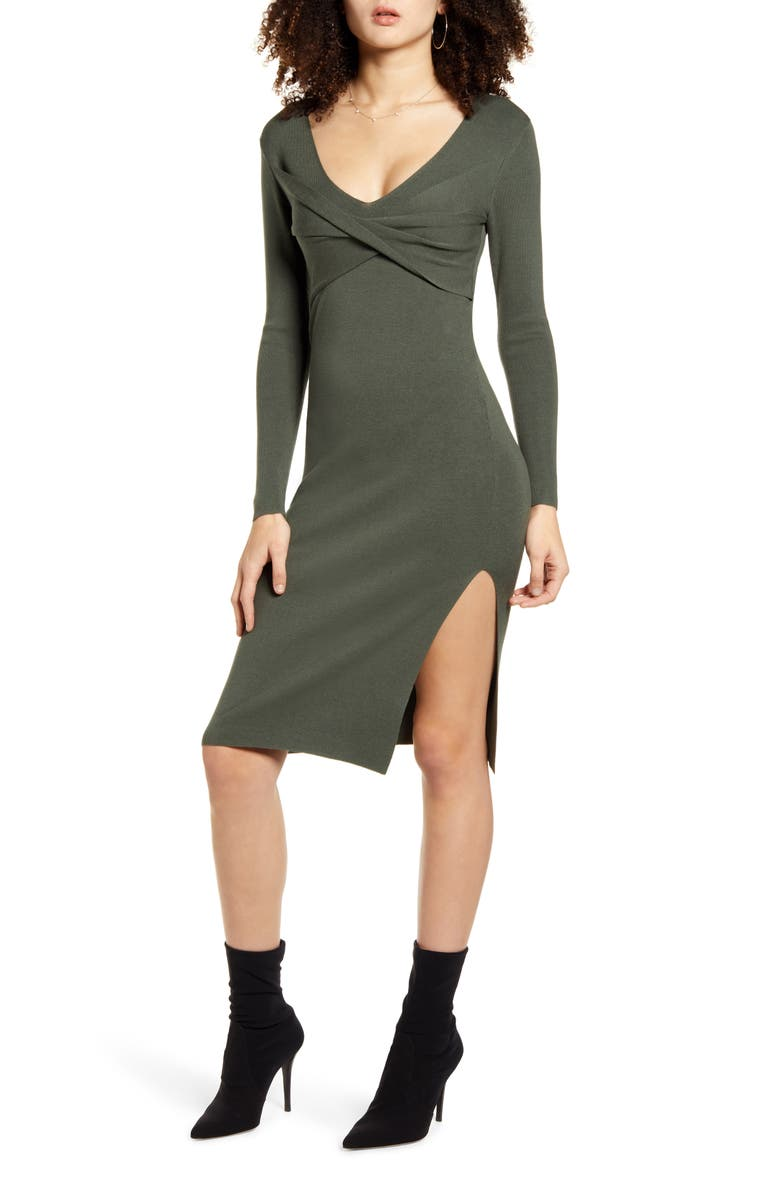 LEITH Twist Front Long Sleeve Sweater Dress, Main, color, 301
