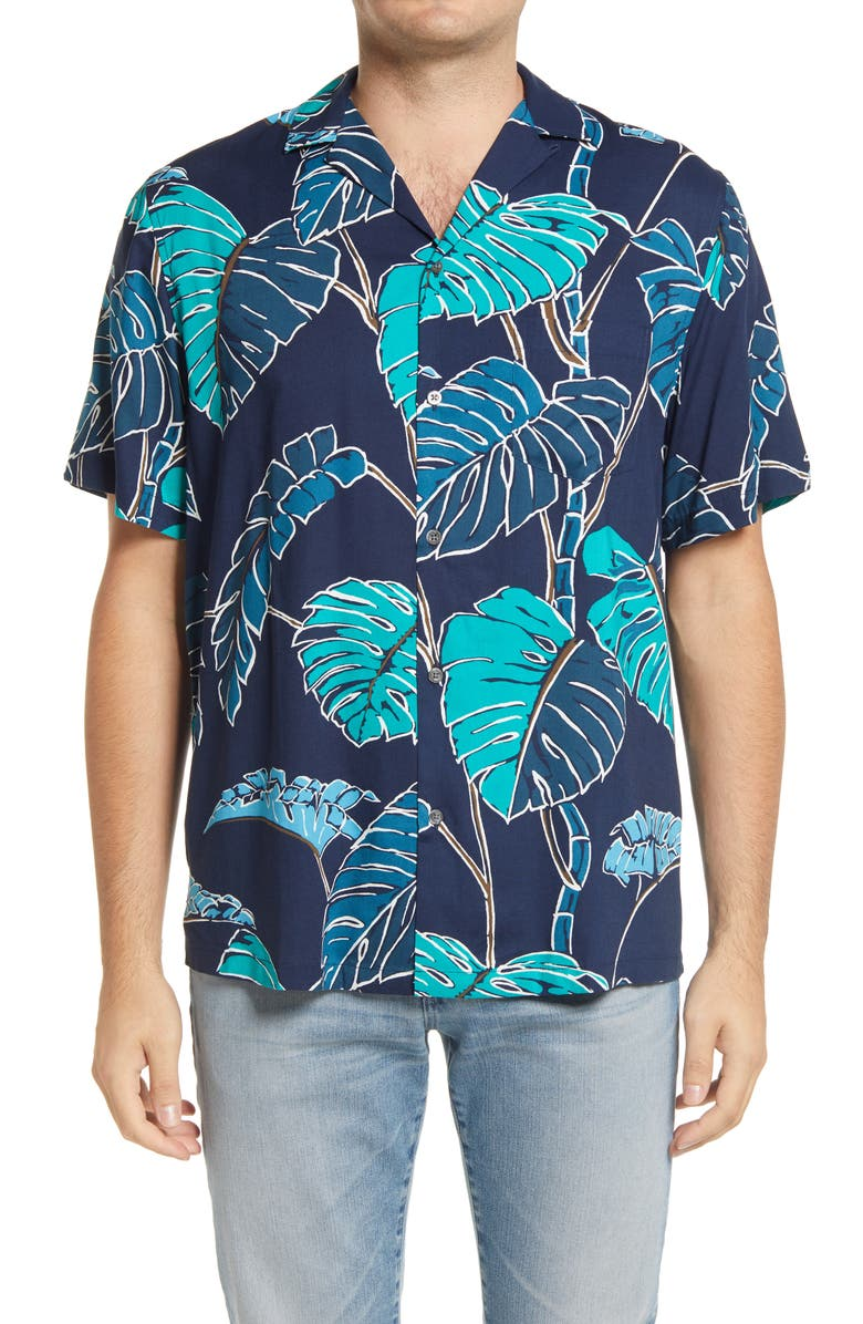 REYN SPOONER Kainapa Tropical Short Sleeve Button-Up Camp Shirt, Main, color, DRESS BLUES