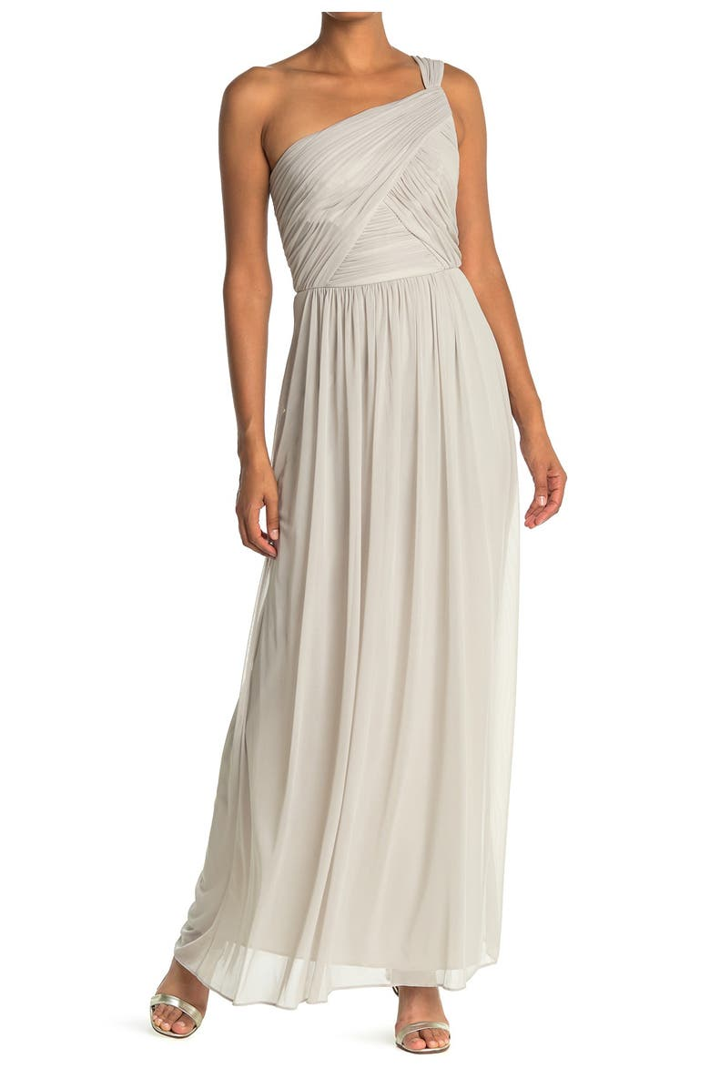 ALFRED SUNG One-ShoulderShirred ChiffonGown, Main, color, 238