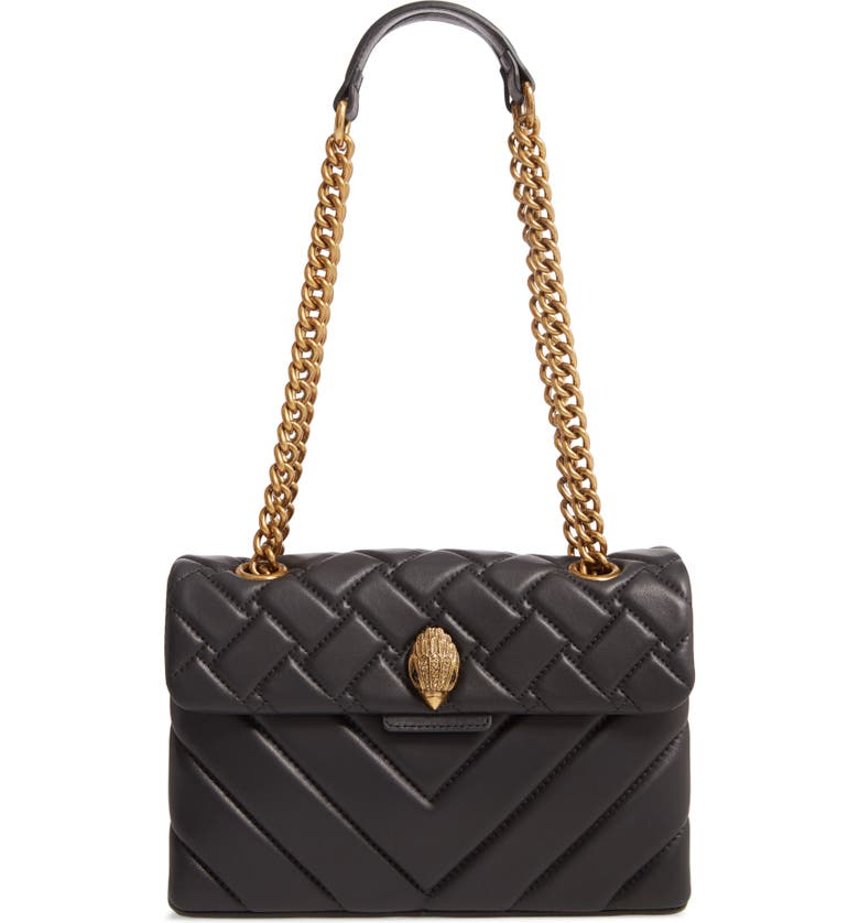 KURT GEIGER LONDON Kensington Quilted Leather Shoulder Bag, Main, color, BLACK
