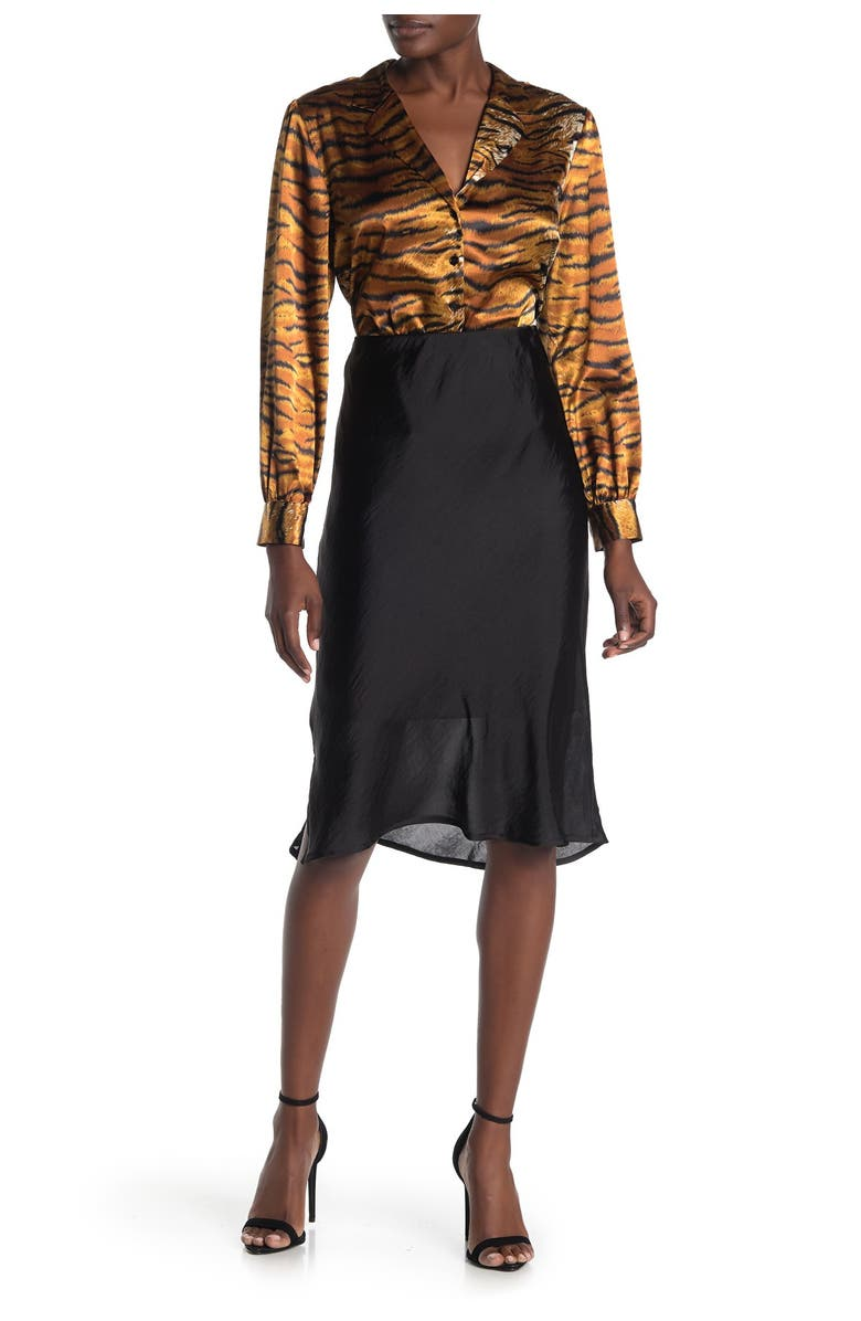 FORGOTTEN GRACE Solid Pull-On Satin Skirt, Main, color, WASHED SATIN BLACK