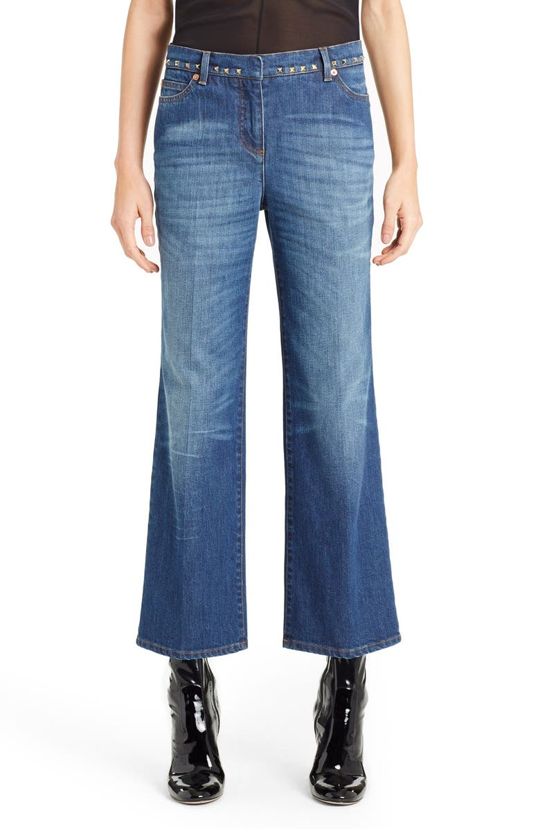 VALENTINO Studded Wide Leg Jeans, Main, color, 420
