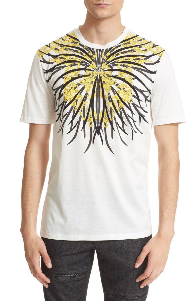 VERSACE COLLECTION 'Baroque' Graphic Cotton T-Shirt, Main, color, WHITE PRINT