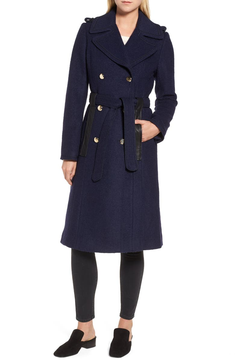GUESS Boiled Wool Trench Coat, Main, color, NAVY
