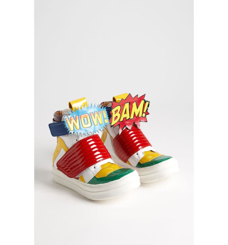 JEFFREY CAMPBELL 'BAM-WOW' Sneaker, Main, color, GREEN/ RED/ YELLOW/ WHITE
