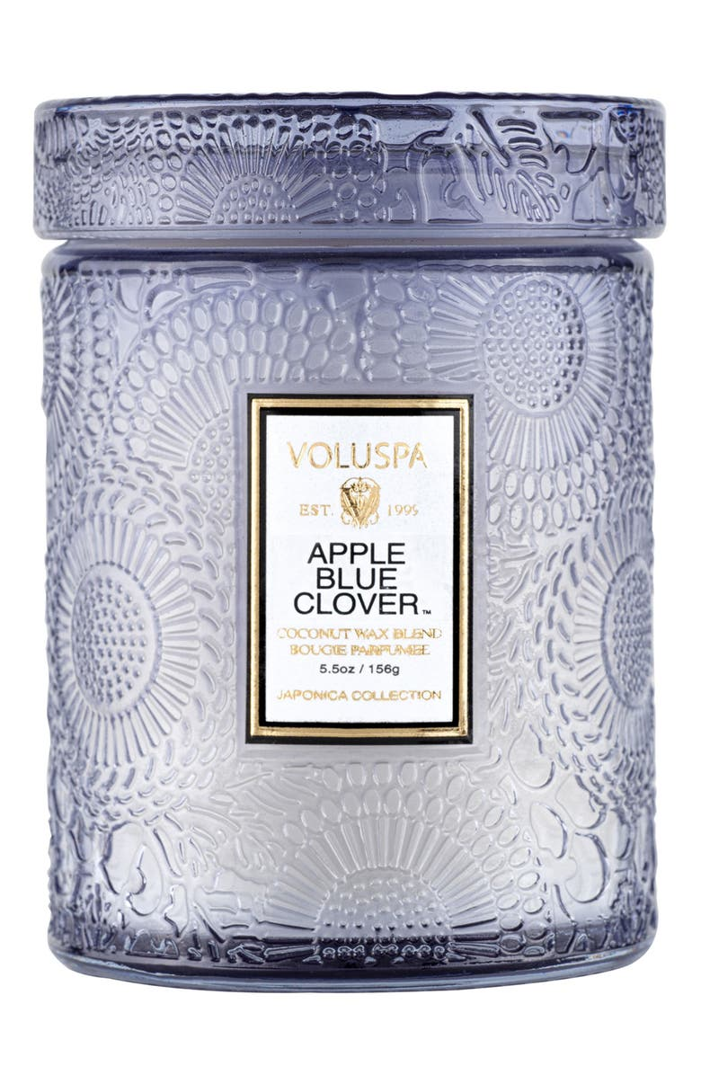 VOLUSPA Apple Blue Clover Small Embossed Jar Candle, Main, color, APPLE BLUE CLOVER