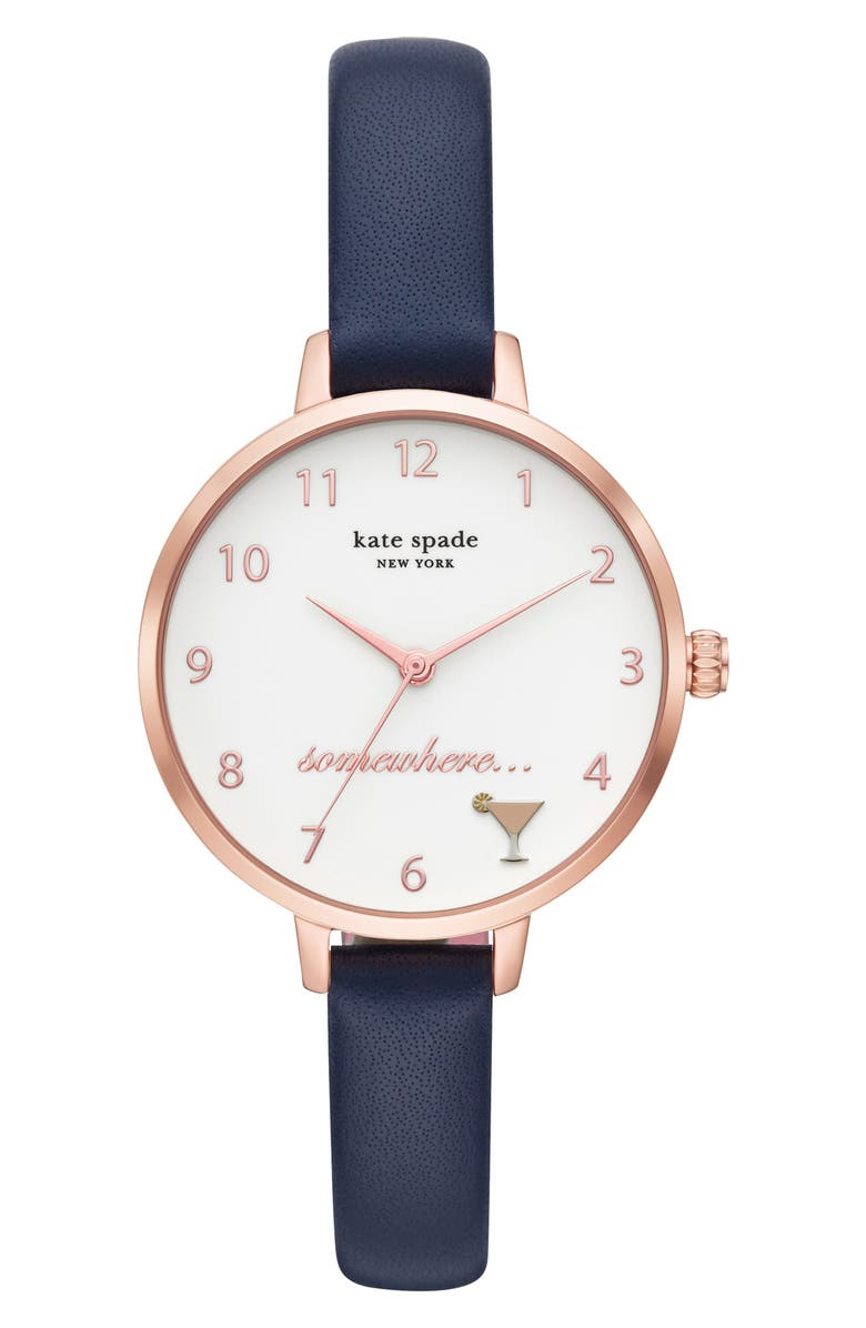 KATE SPADE NEW YORK metro 5 o'clock somewhere leather strap watch, 34mm, Main, color, 000