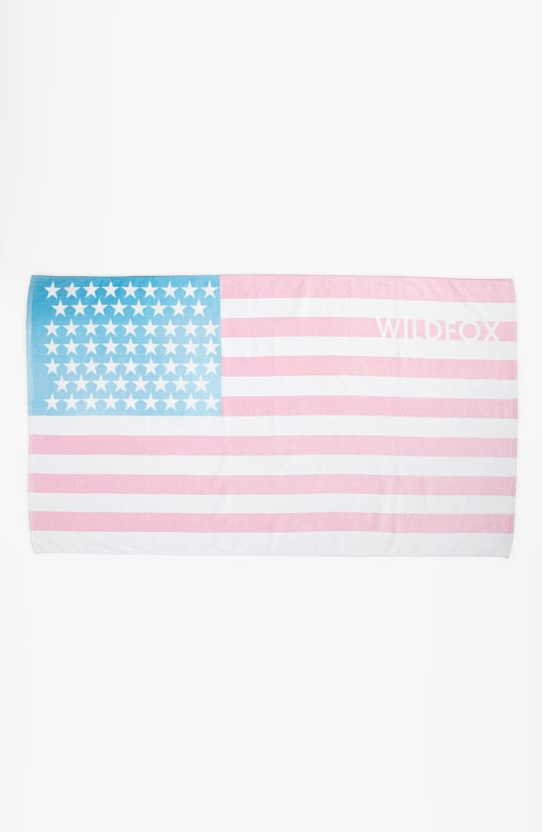WILDFOX Sun Bleached Flag Beach Towel, Main, color, 600