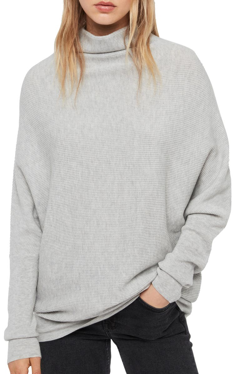 ALLSAINTS Ridley Funnel Neck Wool & Cashmere Sweater, Main, color, ARTIC GREY