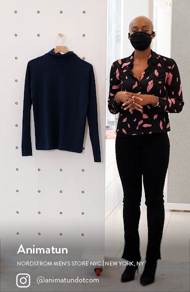 Trimless Wool & Cashmere Mock Neck Sweater, sales video thumbnail