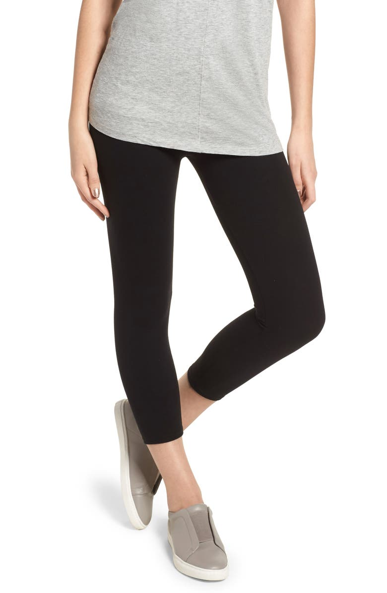 NORDSTROM High Waist Crop Leggings, Main, color, BLACK