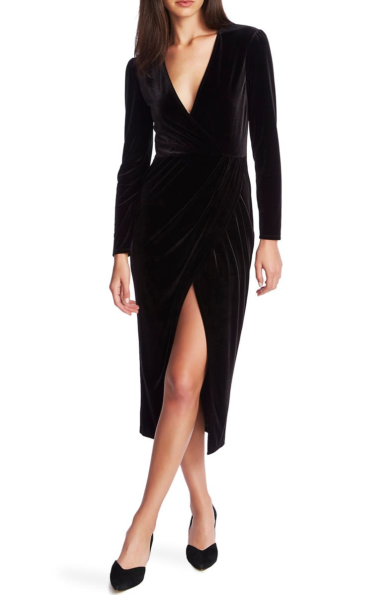1.STATE Wrap Front Ruched Long Sleeve Velvet Dress, Main, color, 001