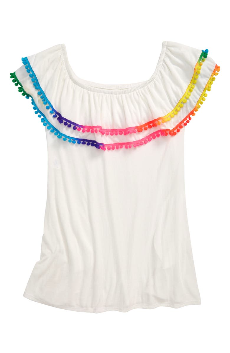 HEART AND HARMONY Pompom Cover-Up Dress, Main, color, WHITE