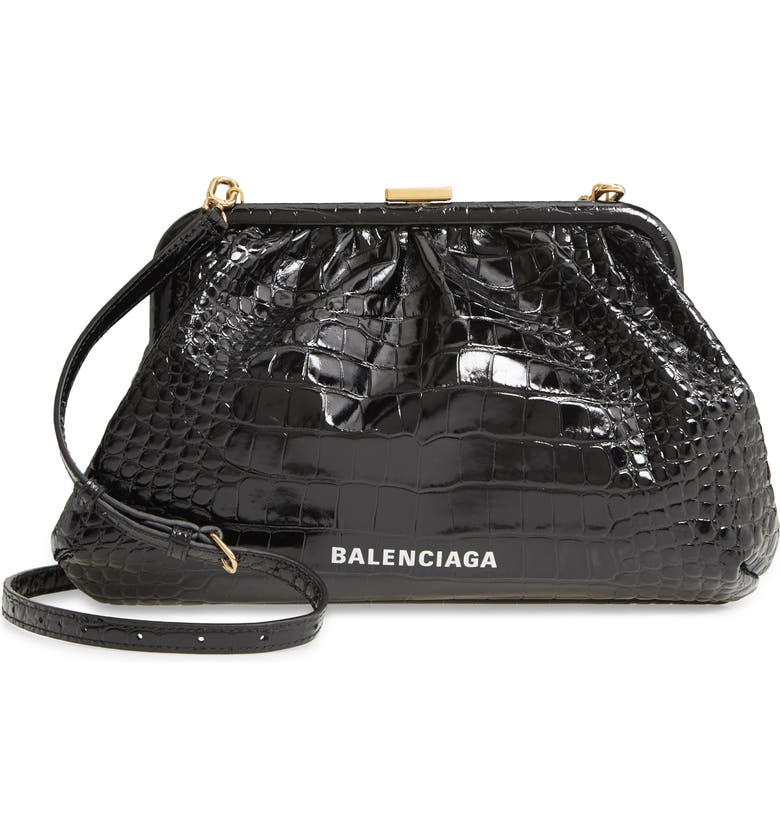 BALENCIAGA Cloud Croc Embossed Leather Crossbody Bag, Main, color, 001