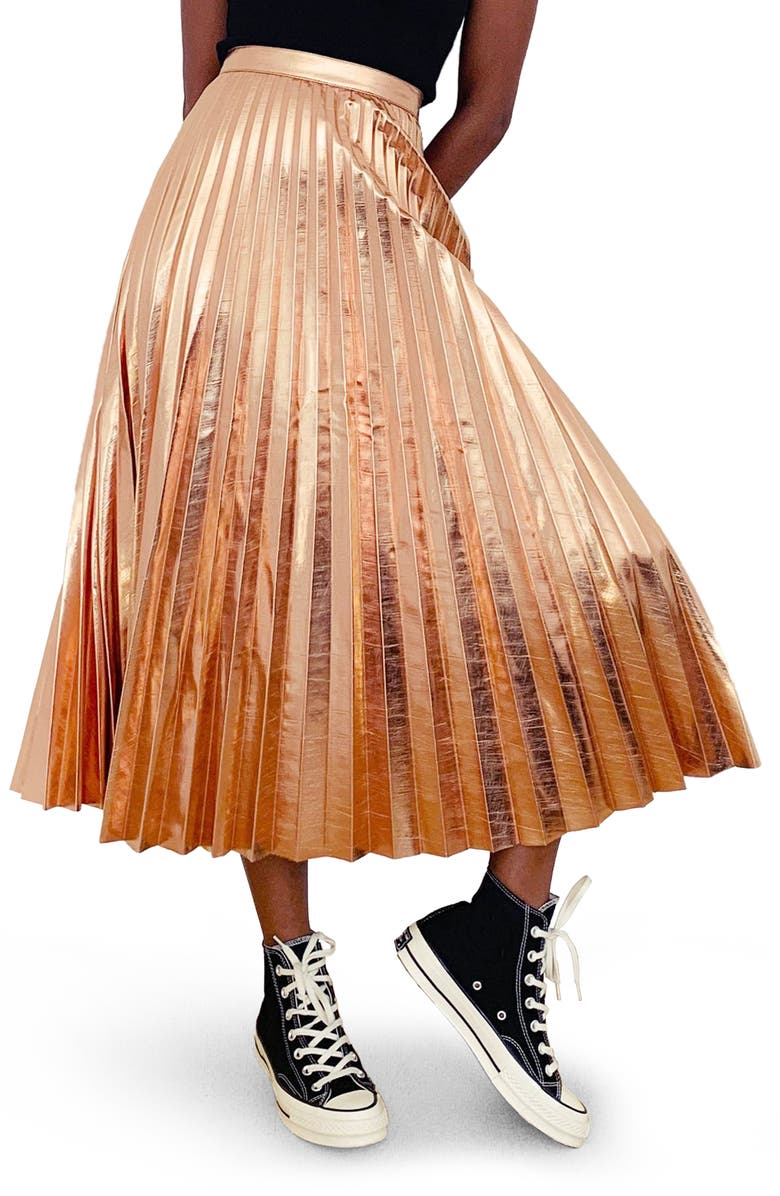 TOPSHOP Pleated Metallic Faux Leather Midi Skirt, Main, color, ROSE GOLD