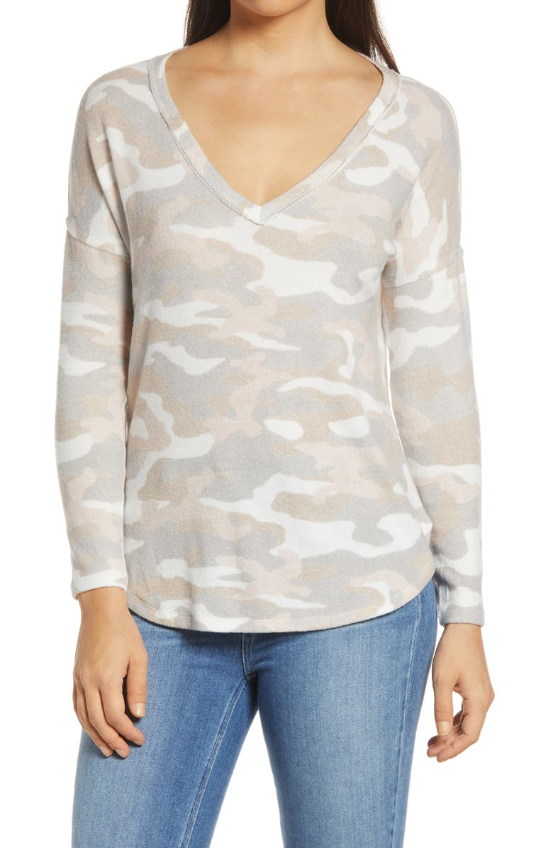 BOBEAU Brushed V-Neck Top, Main, color, CAMO