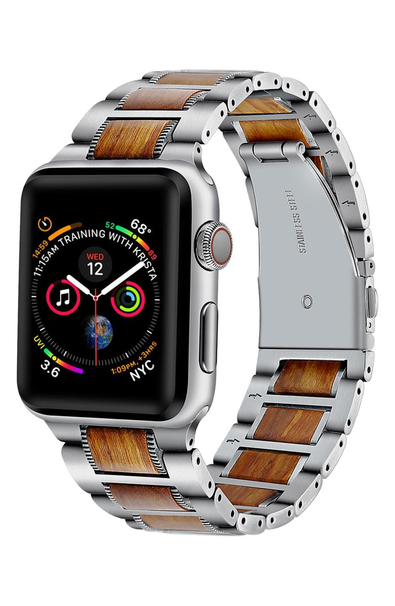THE POSH TECH Stainless Steel & Wood Apple Watch<sup>®</sup> Bracelet, Main, color, SILVER-38/ 40MM