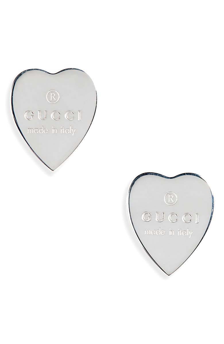 GUCCI Trademark Heart Stud Earrings, Main, color, STERLING SILVER