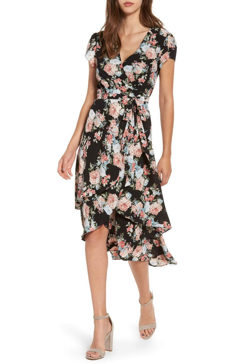 WAYF Oleander Wrap Midi Dress, Main, color, 007