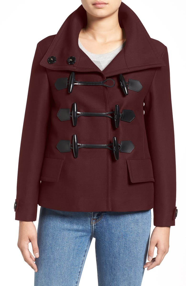 BURBERRY BRIT 'Craysmoore' Toggle Closure Short Gabardine Peacoat, Main, color, 930