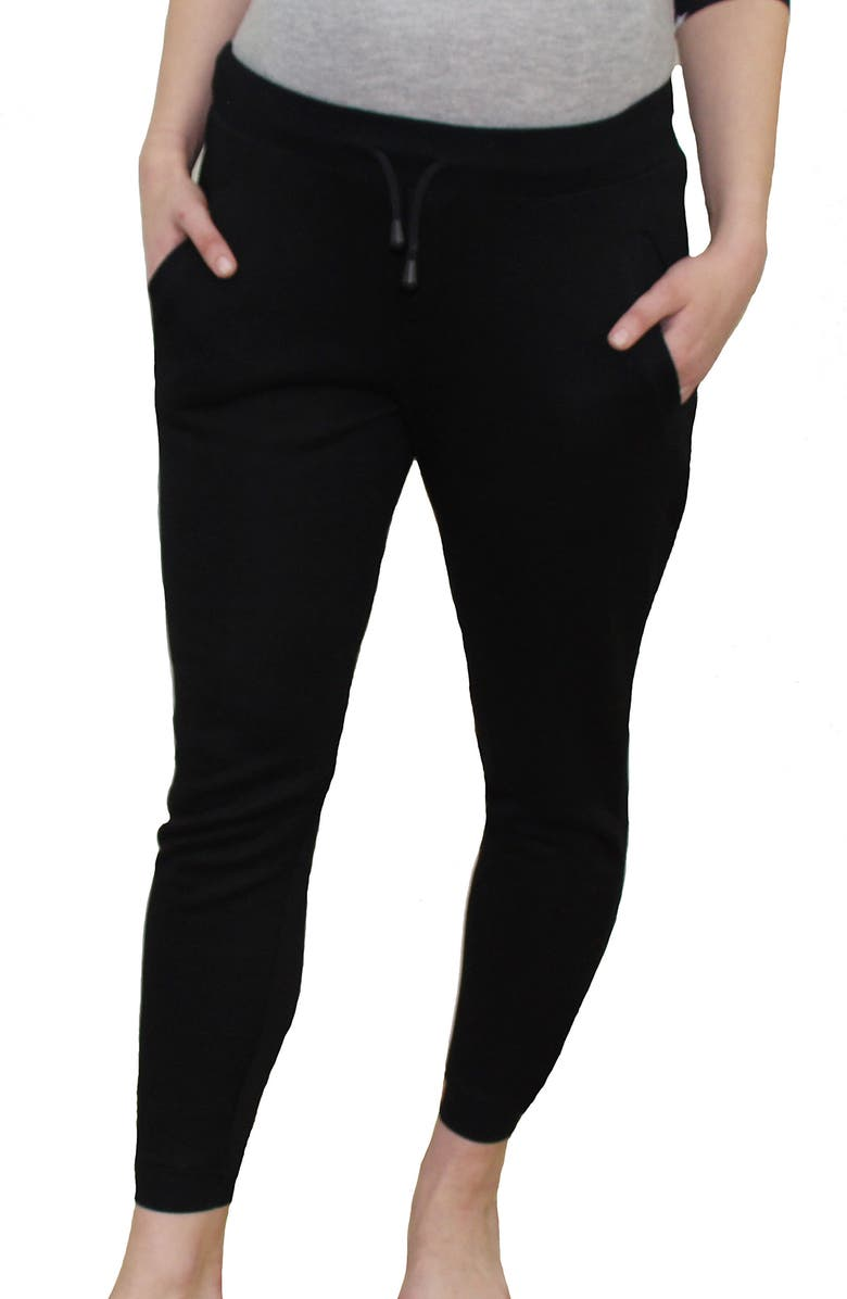 MODERN ETERNITY French Terry Maternity Joggers, Main, color, BLACK
