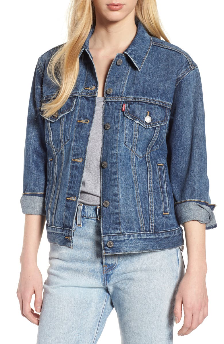LEVI'S<SUP>®</SUP> Ex-Boyfriend Denim Trucker Jacket, Main, color, 450