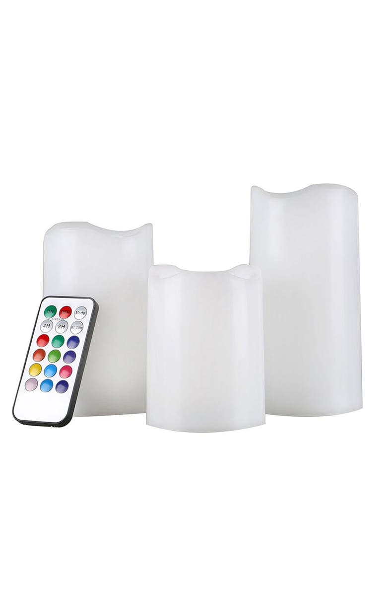 AMORE PARIS Color-Changing LED Flameless Candles With Remote, Main, color, NO COLOR