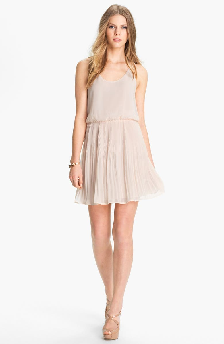 ALL IN FAVOR Mesh Back Pleated Chiffon Dress, Main, color, SHELL