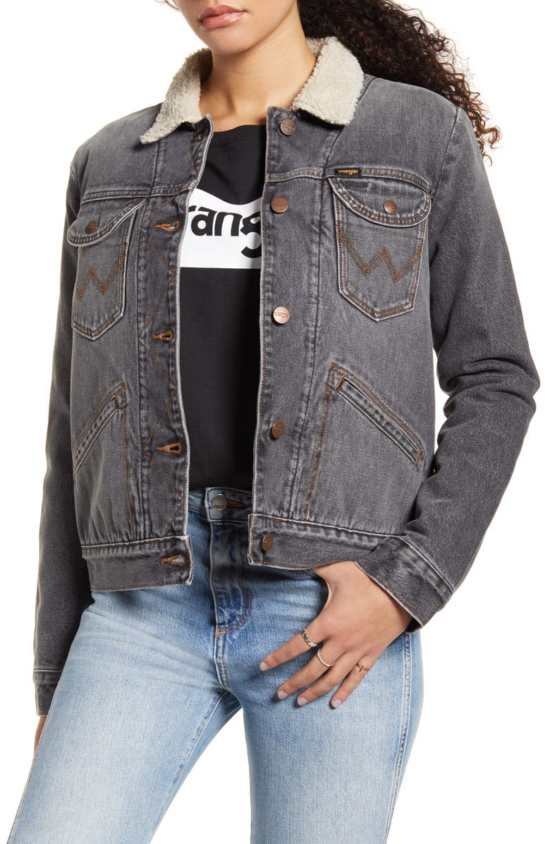 WRANGLER ICONS<sup>™</sup> 124WJ Faux Shearling Lined Denim Jacket, Main, color, 001