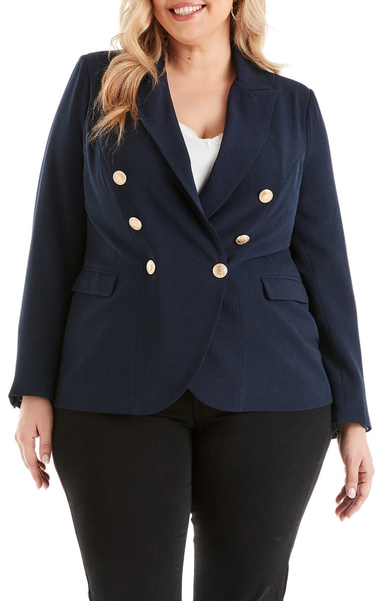 ESTELLE Clever Double Breasted Jacket, Main, color, NAVY